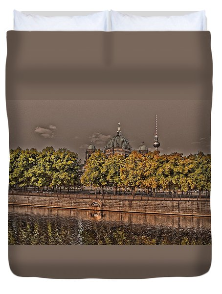 Duvet Cover featuring the photograph Berlin Cathedral ... by Juergen Weiss