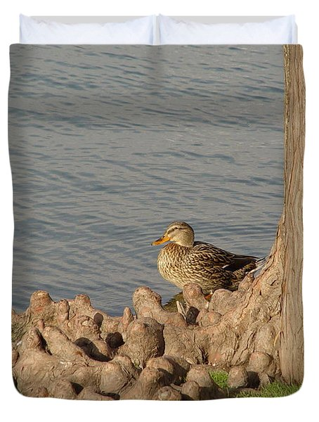 Duvet Cover featuring the photograph Bethany Lakes Duck by Jerry Bunger