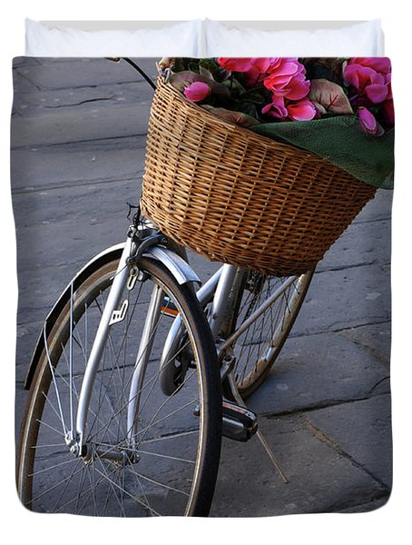 Bicycle In Lucca Italy Duvet Cover by Bob Christopher