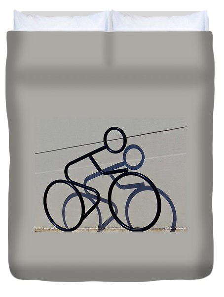 Bicycle Shadow Duvet Cover by Julia Wilcox