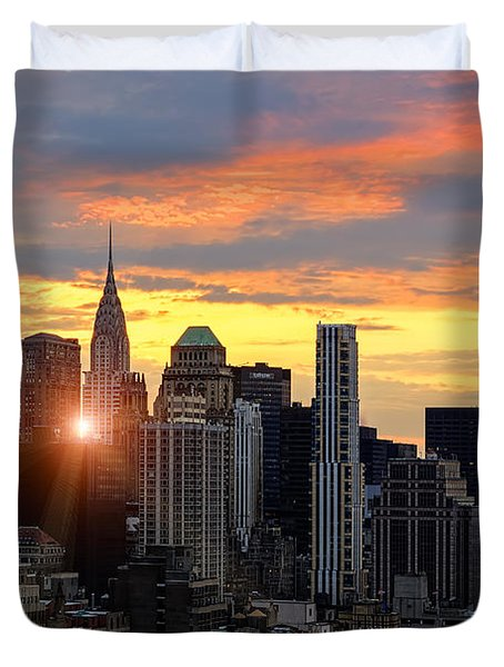 Big Apple Brilliance Duvet Cover by Janet Fikar