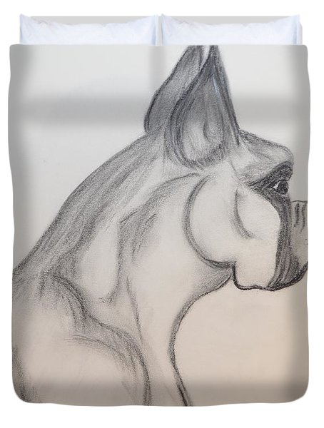 Duvet Cover featuring the drawing Big Boxer by Maria Urso