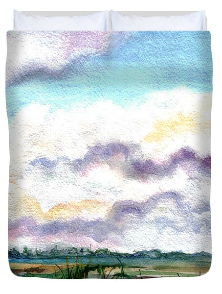 Duvet Cover featuring the painting Big Clouds by Clara Sue Beym