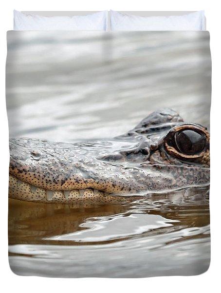Big Eyes Baby Gator Duvet Cover by Carol Groenen