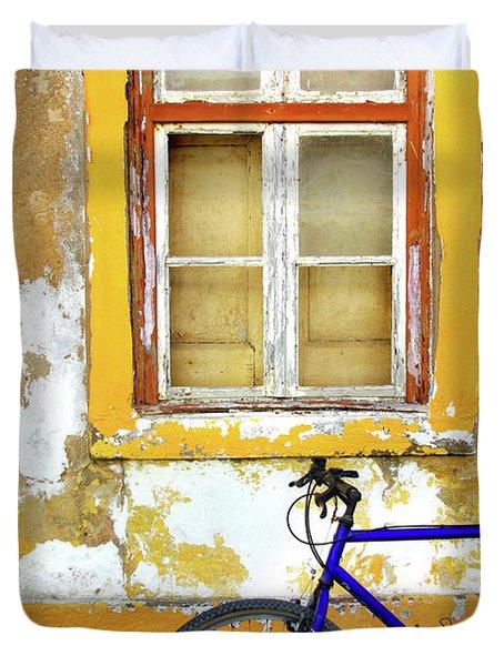 Bike Window Duvet Cover by Carlos Caetano