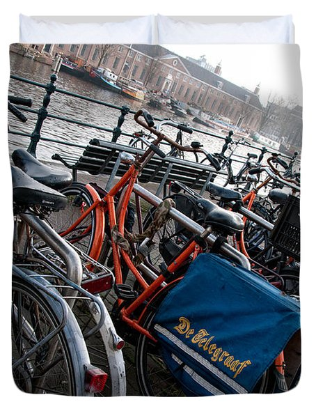 Duvet Cover featuring the digital art Bikes In Amsterdam by Carol Ailles