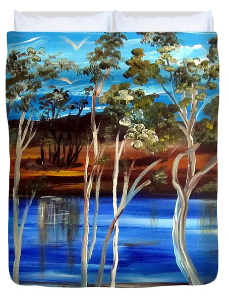 Duvet Cover featuring the painting Billabong by Roberto Gagliardi