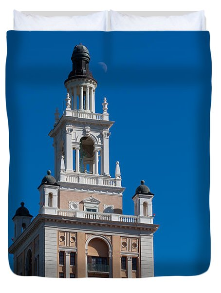 Duvet Cover featuring the photograph Biltmore Hotel Tower And Moon by Ed Gleichman