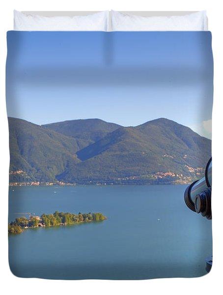 Binoculars Focused On The Isole Di Brissago Duvet Cover by Joana Kruse