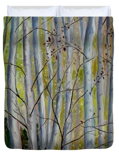 Duvet Cover featuring the painting Birch Forest by Julie Brugh Riffey
