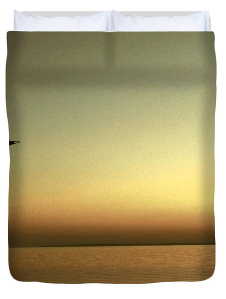 Bird At Sunrise - Sepia Duvet Cover by Desiree Paquette
