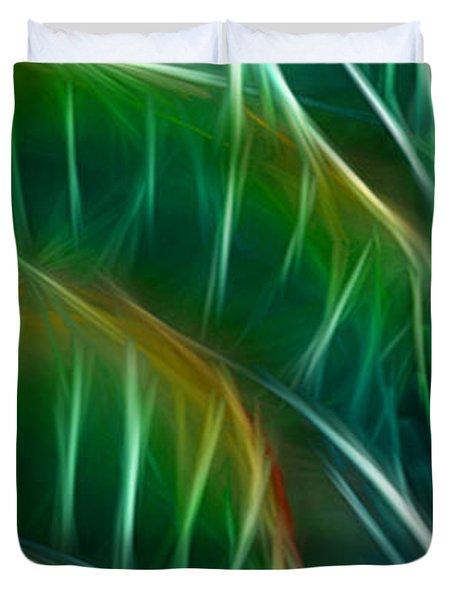 Bird Of Paradise Fractal Panel 3 Duvet Cover by Peter Piatt