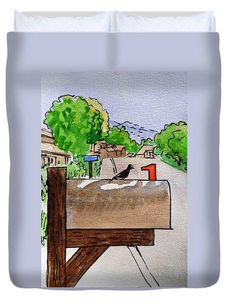 Bird On The Mailbox Sketchbook Project Down My Street Duvet Cover by Irina Sztukowski