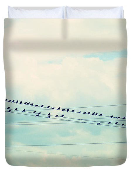 Birds On Wires Blue Tint Duvet Cover by Paulette B Wright
