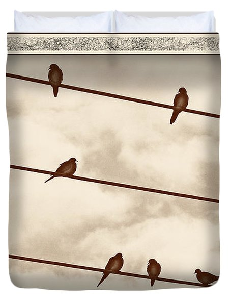 Birds On Wires Duvet Cover