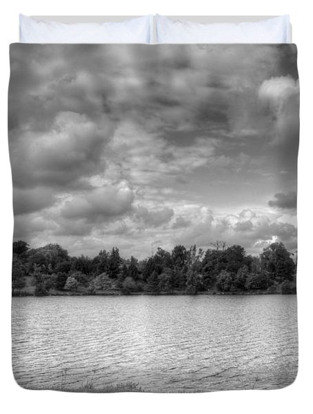 Duvet Cover featuring the photograph Black And White Autumn Day by Michael Frank Jr