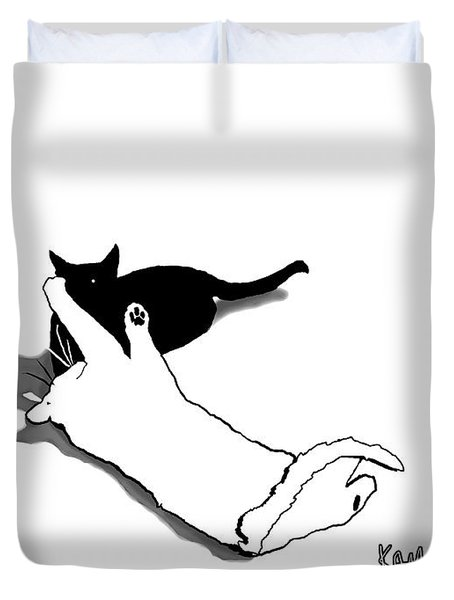 Black And White Cats Duvet Cover