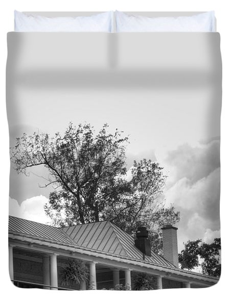 Duvet Cover featuring the photograph Black And White Delaware Casino by Michael Frank Jr