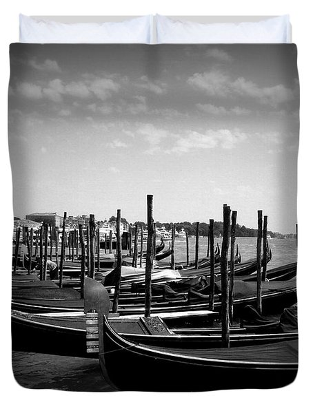 Duvet Cover featuring the photograph Black And White Gondolas by Laurel Best