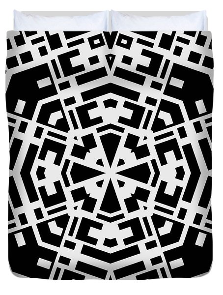 Black And White Kaleidoscope Duvet Cover by David G Paul