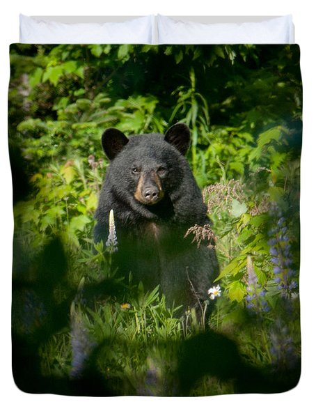 Duvet Cover featuring the photograph Black Bear by Alana Ranney