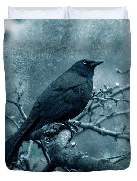 Black Bird On Branch Duvet Cover by Jill Battaglia