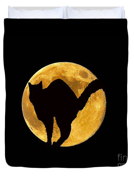 Black Cat Moon Duvet Cover by Al Powell Photography USA