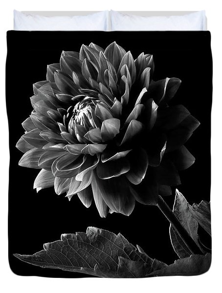 Black Dahlia In Black And White Duvet Cover