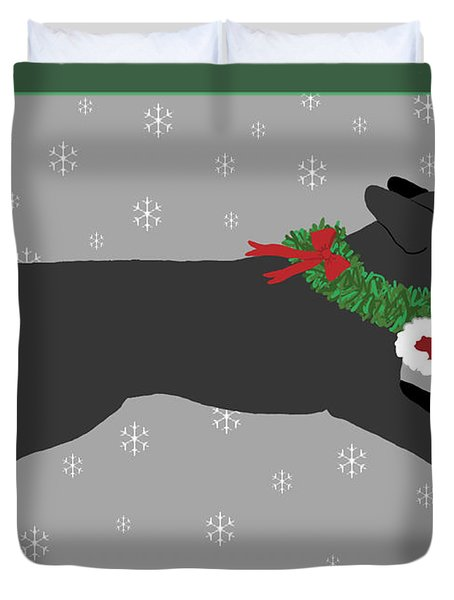 Black Labrador Steals Santa's Hat Duvet Cover
