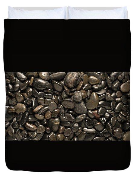 Black River Stones Landscape Duvet Cover by Steve Gadomski