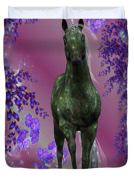 Black Unicorn And Flowers Duvet Cover