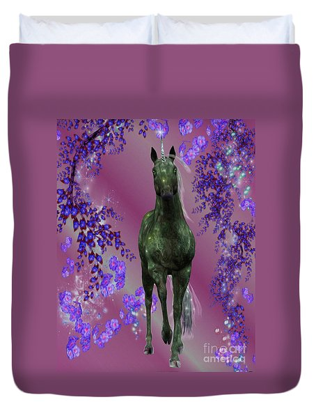 Black Unicorn And Flowers Duvet Cover by Smilin Eyes  Treasures