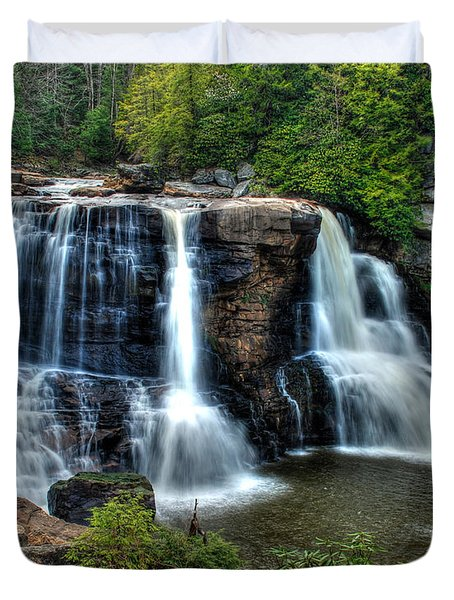 Duvet Cover featuring the photograph Black Water Falls by Mark Dodd