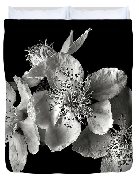 Blackberry Flowers In Black And White Duvet Cover