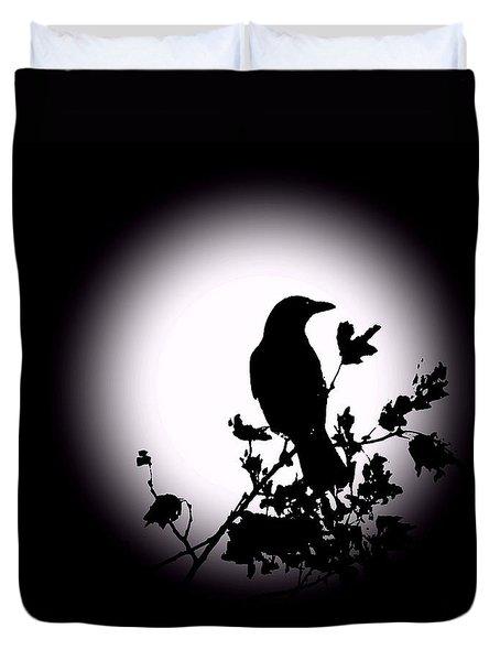 Blackbird In Silhouette  Duvet Cover by David Dehner