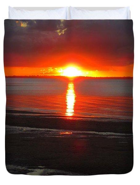 Blazing Sunset Duvet Cover by Ramona Johnston