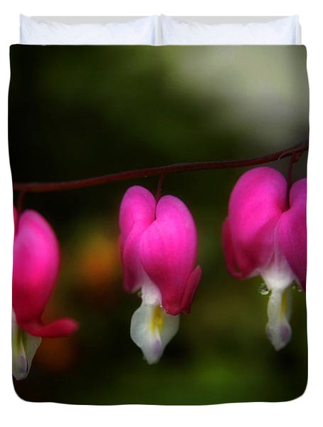 Duvet Cover featuring the photograph Bleeding Hearts  by Alana Ranney