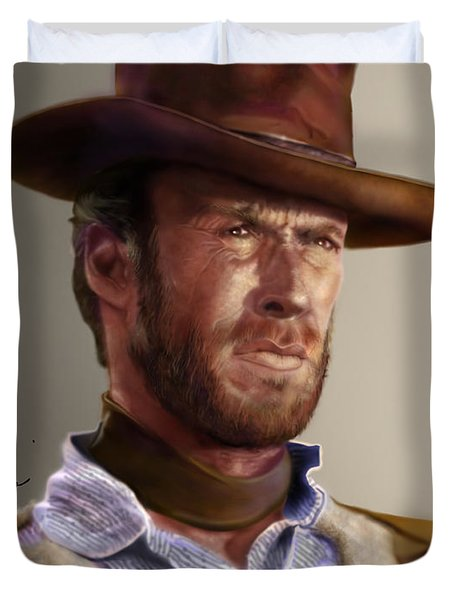 Blondie - Clint Eastwood Duvet Cover by Reggie Duffie