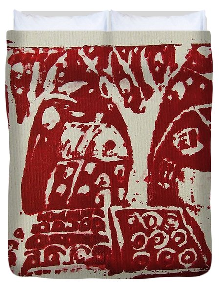 Blood Rituals In Red For The Mayan Forest Agriculture With Trees Houses And Land Plots Duvet Cover