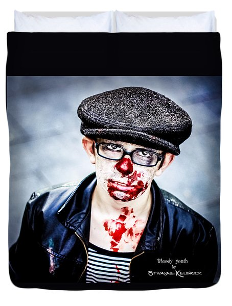 Duvet Cover featuring the photograph Bloody Youth by Stwayne Keubrick