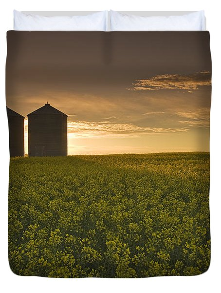 Bloom Stage Canola Field With Grain Duvet Cover by Dave Reede