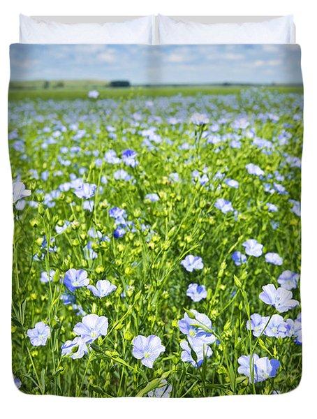 Blooming Flax Field Duvet Cover by Elena Elisseeva