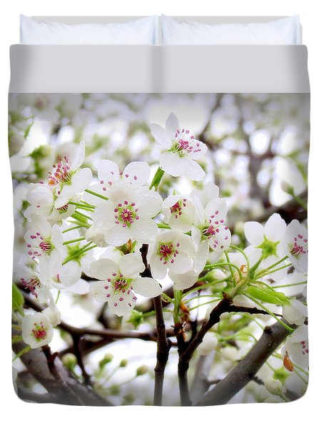 Duvet Cover featuring the photograph Blooming Ornamental Tree by Kay Novy