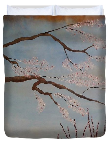 Blossoms Over The Lake Duvet Cover by Catherine JN Christopher