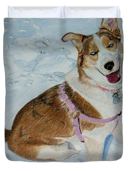 Blue - Siberian Husky Dog Painting Duvet Cover