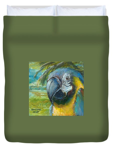 Blue And Gold Macaw By The Sea Duvet Cover by Bernadette Krupa