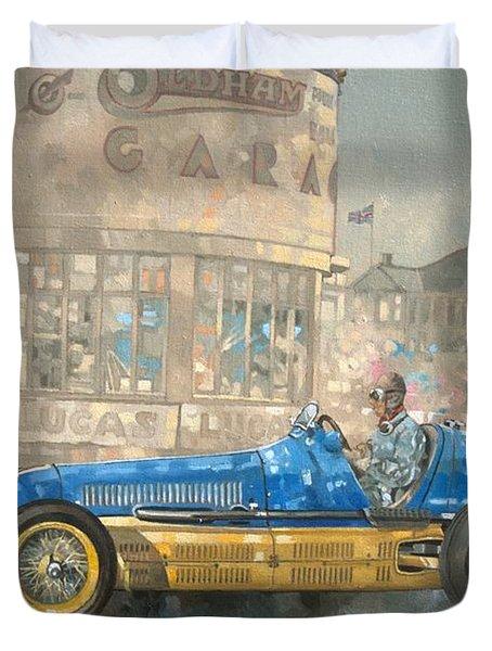 Blue And Yellow Maserati Of Bira  Duvet Cover