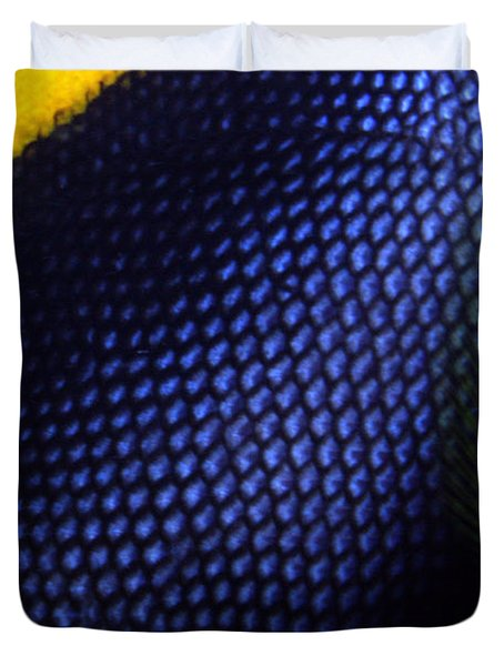 Blue And Yellow Scales Duvet Cover