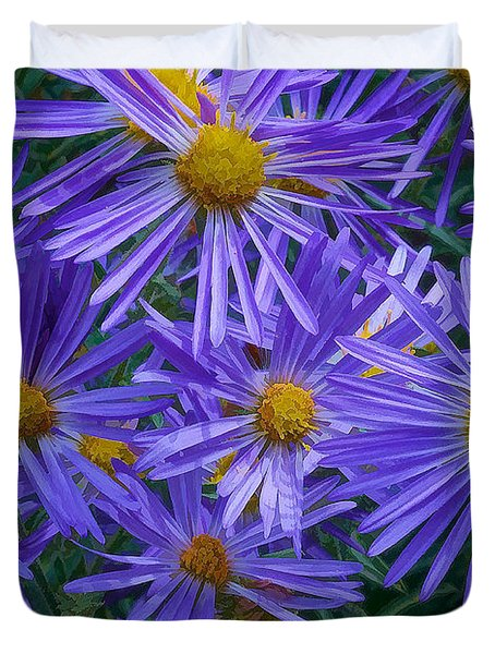Blue Asters Duvet Cover