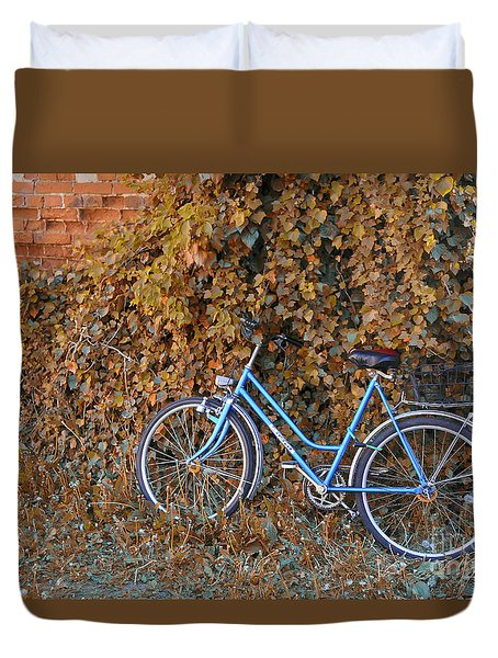 Blue Bike Duvet Cover